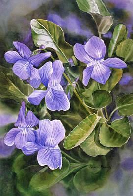 Blue Dog Violets Poster by Sharon Freeman