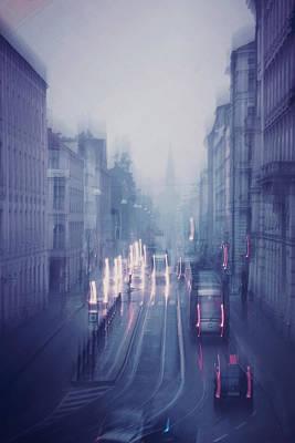 Blue Fog Over Rainy City Poster by Jenny Rainbow