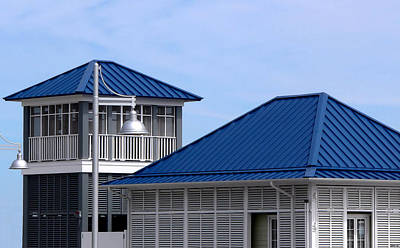 Blue Harbor Roofs Poster by Kathy K McClellan
