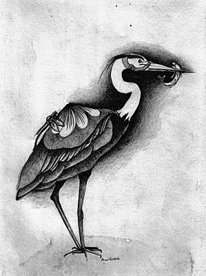 Blue Heron Poster by Anne Rickard