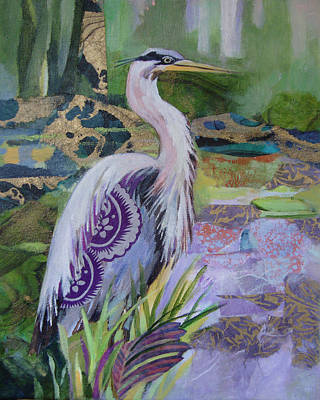 Blue Heron Pose Poster by Marty Husted