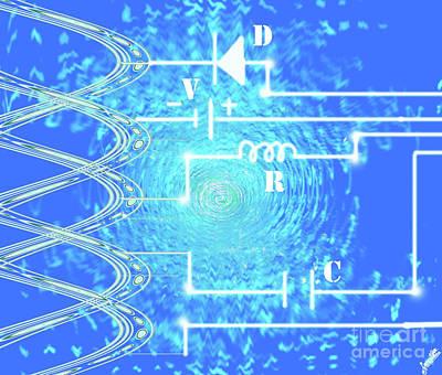 Blue Light Pulse Circuit Poster by Artist Nandika Dutt