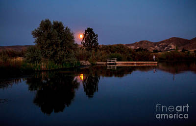 Blue Moon And Fisherman Reflections Poster by Robert Bales