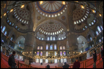 Blue Mosque Interior Poster by Joan Carroll