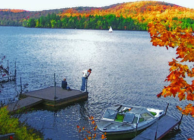 Blue Mountain Lake 12 - Tourists On Dock Poster by Steve Ohlsen