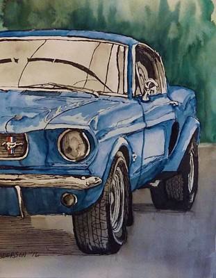 Blue Mustang Poster by Pamela Anderson
