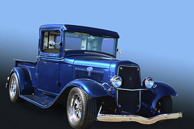 Blue Oval Pickup Poster by Bill Dutting