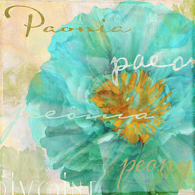 Blue Peony Poster by Mindy Sommers