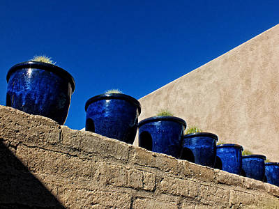 Blue Pottery On Wall Poster by Lucinda Walter