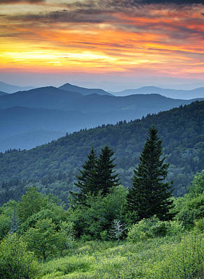 Blue Ridge Parkway Nc Landscape - Fire In The Mountains Poster by Dave Allen