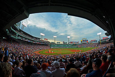Blue Sky Over Fenway Park Fisheye Poster by Toby McGuire