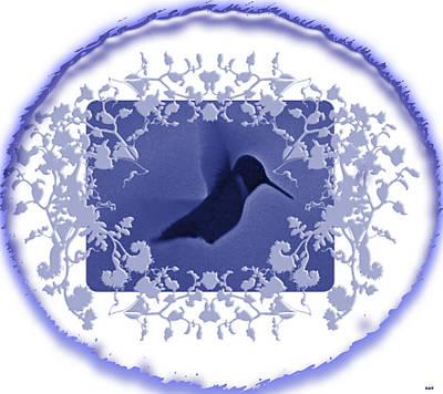 Blues Hummingbird Trim  Poster by Debra     Vatalaro