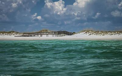 Boardwalk At Shell Island  Poster by Debra Forand