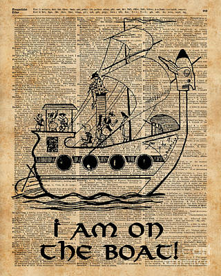Boat Expedition,ship Excursion,music Crew,vintage Ink Dictionary Art Poster by Jacob Kuch
