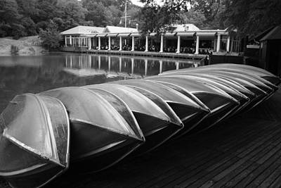 Boats At The Boat House Central Park Poster by Christopher Kirby
