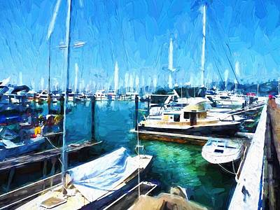 Boats Docked At Marina In Sausalito, Ca Poster by D S Images