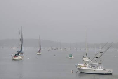 Boats Docked In A Foggy Harbor - Salem, Massachusetts Poster by Joann Vitali