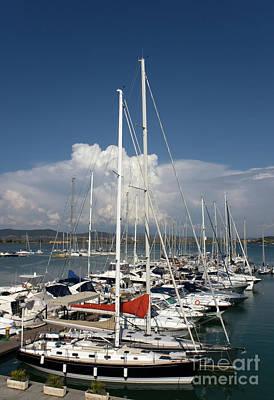 Boats In Port Tuscany Poster by Ezeepics