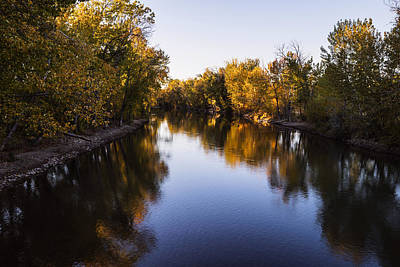 Boise River Autumn Evening In Boise Idaho Poster by Vishwanath Bhat