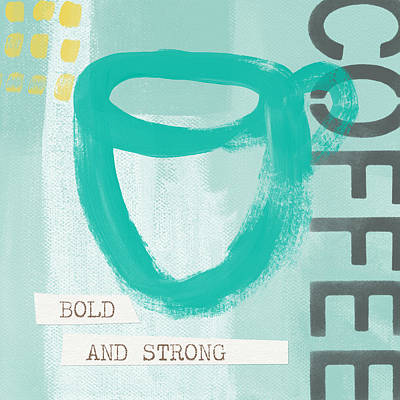 Bold And Strong In Blue- Art By Linda Woods Poster by Linda Woods