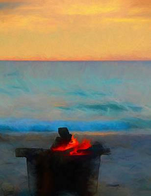 Bonfire On The Beach Poster by Dan Sproul