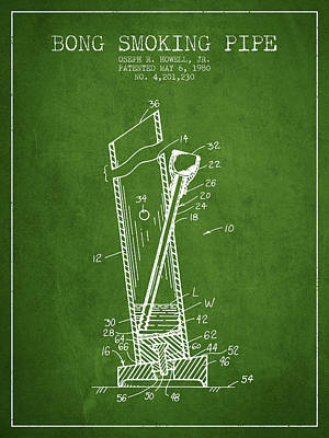Bong Smoking Pipe Patent1980 - Green Poster by Aged Pixel