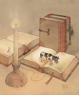 Bookish Cow Poster by Kestutis Kasparavicius