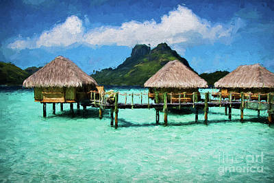 Bora Bora Bunaglows Poster by Doug Sturgess