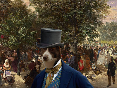 Border Collie Art Canvas Print - Afternoon In The Tuileries Gardens Poster by Sandra Sij