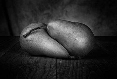 Bosc Pears In Black And White Poster by Tom Mc Nemar