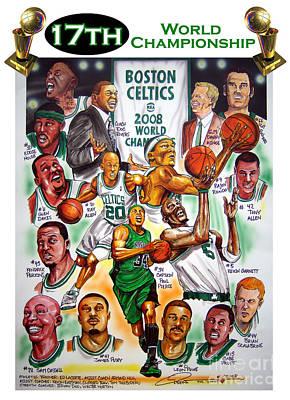 Boston Celtics World Championship Newspaper Poster Poster by Dave Olsen