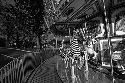 Boston Common Carousel Boston Ma Black And White Poster by Toby McGuire
