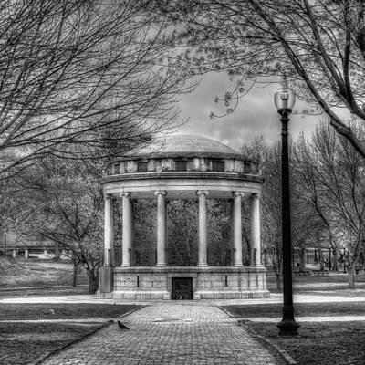 Boston Common Rotunda - Black And White Square Poster by Joann Vitali