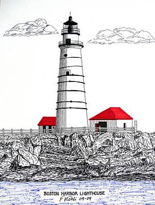 Boston Harbor Lighthouse Dwg Poster by Frederic Kohli