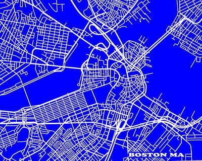 Boston Massachusetts City Map Streets Art Print   Poster by Keith Webber Jr