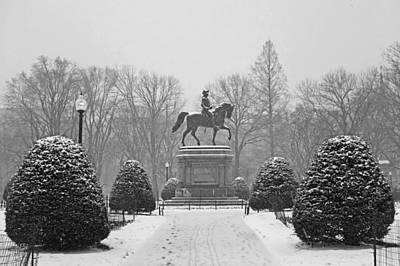 Boston Public Garden Boston Ma Winter Snow Black And White Poster by Toby McGuire