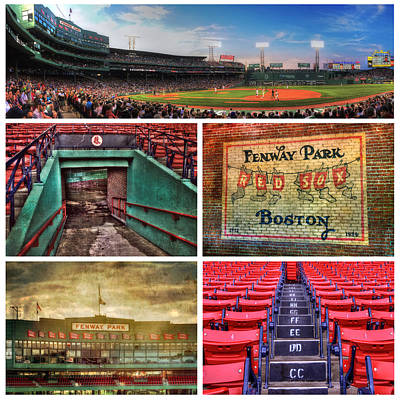 Boston Red Sox Collage - Fenway Park Poster by Joann Vitali