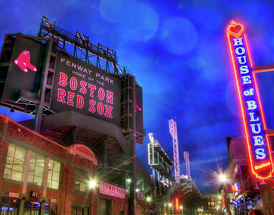 Boston Red Sox Fenway Park At Night  Poster by Joann Vitali