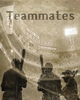 Vintage Boston Red Sox Fenway Park Teammates Statue Poster by Joann Vitali