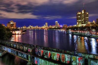 Boston Skyline And The Boston University Bridge Poster by Joann Vitali