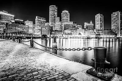 Boston Skyline At Night Black And White Picture Poster by Paul Velgos
