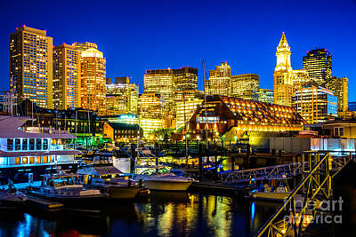 Boston Skyline At Night Poster by Paul Velgos