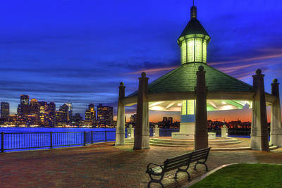 Boston Skyline From Piers Park Gazebo Poster by Joann Vitali