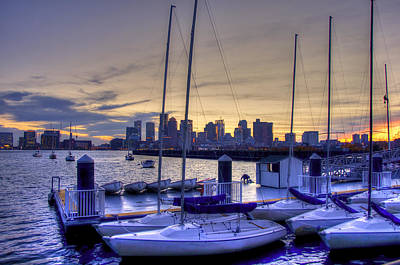 Boston Skyline From Piers Park Sailing Center Poster by Joann Vitali