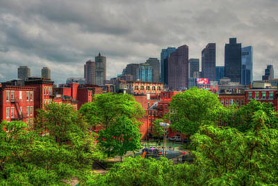 Boston Skyline - Old And New Poster by Joann Vitali