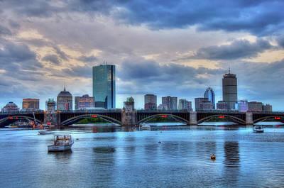 Boston Skyline On The Charles River At Dusk Poster by Joann Vitali