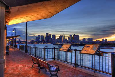 Boston Skyline Sunset - East Boston Poster by Joann Vitali