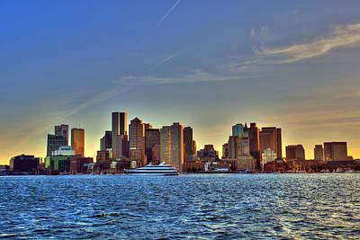 Boston Skyline Sunset From Boston Harbor Poster by Joann Vitali