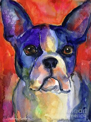 Boston Terrier Dog Painting  Poster by Svetlana Novikova