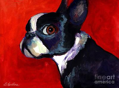 Boston Terrier Dog Portrait 2 Poster by Svetlana Novikova